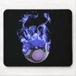 Blue flames soccer ball and smoke mousepad