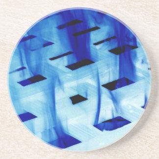 Blue flames through white grid design photo coaster