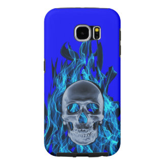 Blue Flames with Skull Samsung Galaxy S6 Cases