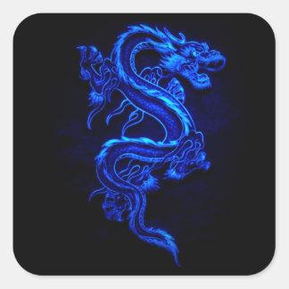 blue flaming dragon design square sticker
