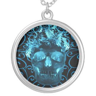 Blue Flaming Skull Necklace