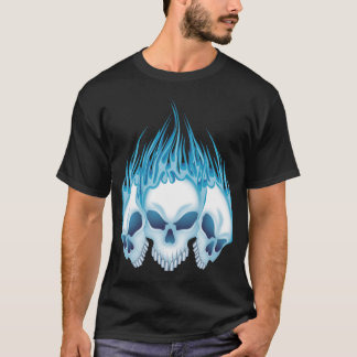 Blue Flaming Skulls T-Shirt