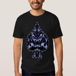 Blue Flaming Spade Skull T-shirts