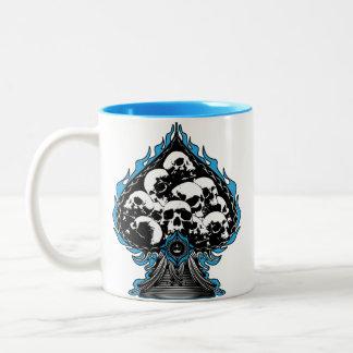 Blue Flaming Spade with Skulls Two-Tone Mug