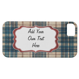 blue flannel background label iPhone 5 case