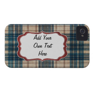 blue flannel background label iPhone 4 cover