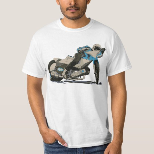 Blue Flat Track & Speedway Motorcycle Racer T-Shirt