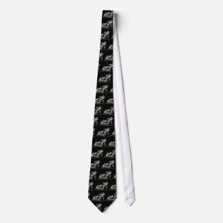 Blue Flat Track & Speedway Motorcycle Racer Tie
