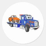 Blue Flatbed Tow Truck Round Sticker