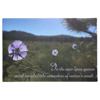 Blue Flax Flowers In Open Prairie Photograph Doormat