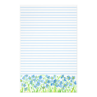 Blue Flax Watercolor Flowers Lined Stationery  Lined Stationary Paper