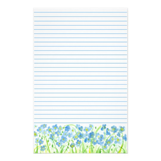 Blue Flax Watercolor Flowers Lined Stationery