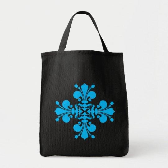 Blue fleur de lis damask motif on black