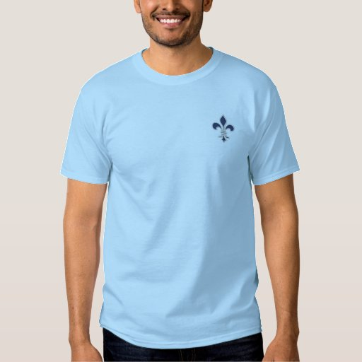 Blue Fleur de Lis Embroidered Shirt