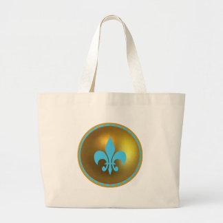 Blue Fleur de lis on Gold ornament Jumbo Tote Bag