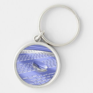 Blue flight Silver-Colored round key ring