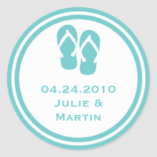 Blue flip flop thong wedding favor tag seal label round sticker