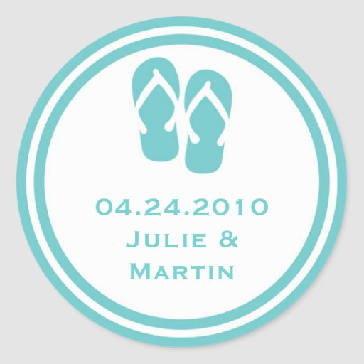 Blue flip flop thong wedding favor tag seal label round stickers