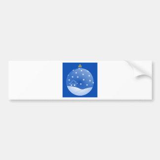 Blue floating christmas ornament snow house advent bumper sticker