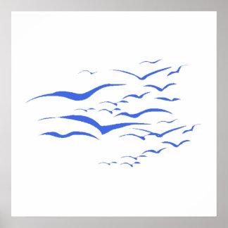 Blue Flock Of Birds Poster