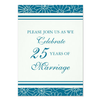 Blue Floral 25th Anniversary Party Invitation