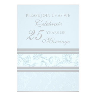 Blue Floral 25th Anniversary Party Invitation Card