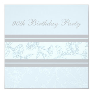 Blue Floral 90th Birthday Party Invitations