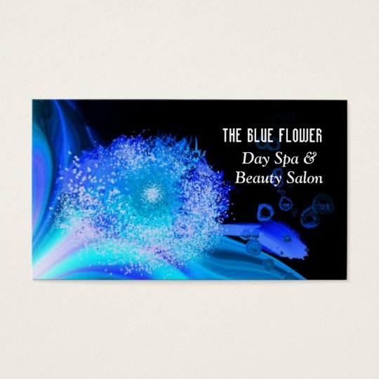 Blue Floral Abstract Day Spa Business Card