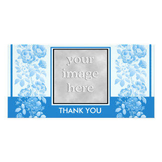 Blue Floral and Elegant  Thank You Personalized Photo Card