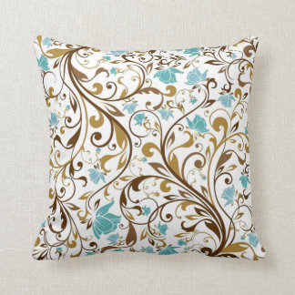 blue floral and swirls pillow