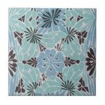 blue floral art nouveau design small square tile