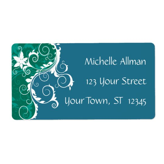 Blue Floral Avery Label Shipping Label