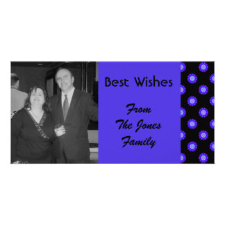blue floral Best Wishes Photo Greeting Card