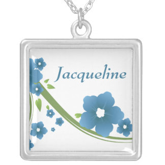 Blue Floral Bridal Party Gift Necklace