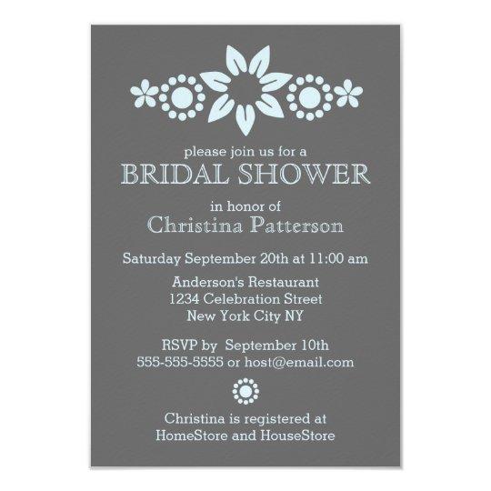 Blue Floral Bridal Shower Invitation