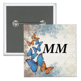 Blue floral butterflies 15 cm square badge