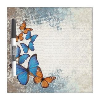 Blue floral butterflies dry erase board