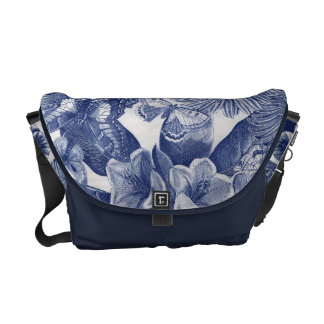 Blue Floral Butterfly Messenger Bag