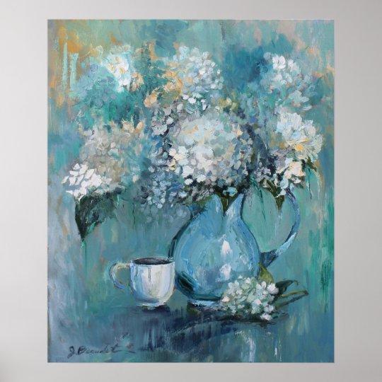 Blue Floral by Jenn Beaudet Poster