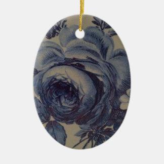 Blue Floral Ceramic Oval Decoration