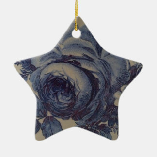 Blue Floral Ceramic Star Decoration