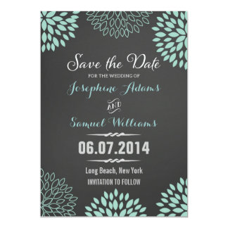 Blue Floral Chalkboard Save The Date Card