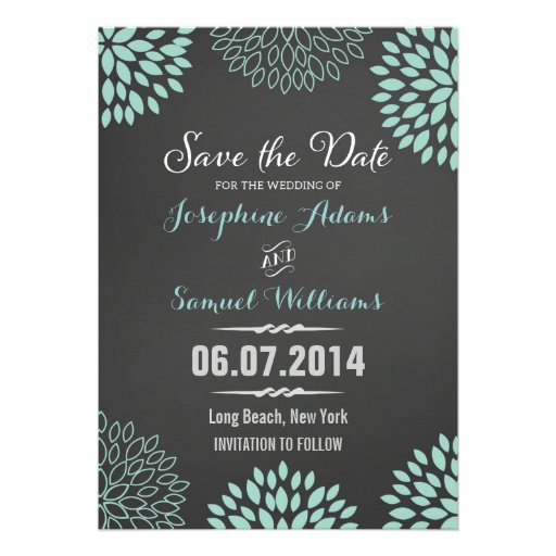 Blue Floral Chalkboard Save The Date Announcements