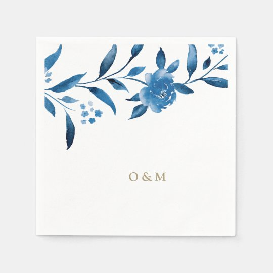 Blue floral Chinoiserie Wedding monogram Disposable Serviettes