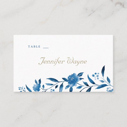 Blue floral Chinoiserie Wedding place cards