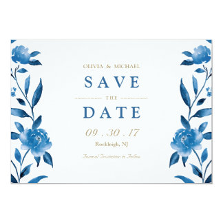 Blue floral Chinoiserie Wedding save the date Card