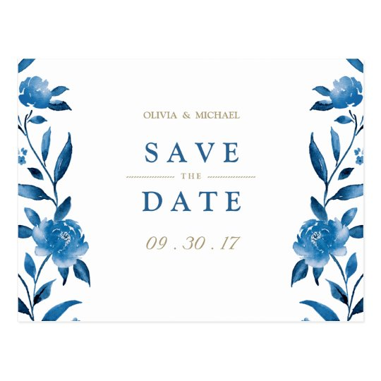 Blue floral Chinoiserie Wedding save the date Postcard