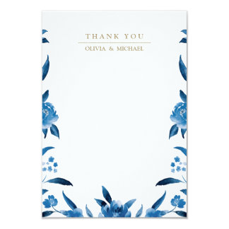 Blue floral Chinoiserie Wedding thank you Card