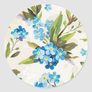 Blue Floral Classic Round Sticker