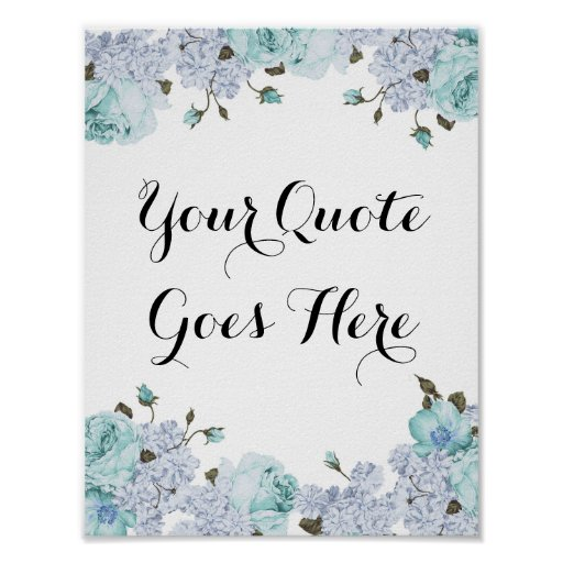 Blue Floral Customisable Poster Print